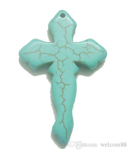 10st / lot turkos kors hängande charmar för halsband diy hantverk smycken hängen mode gåva t46