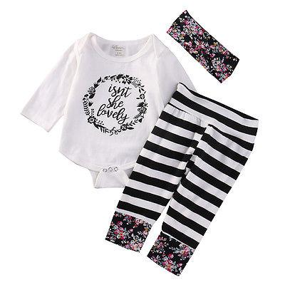 21b93803971ac Wholesale- Newborn Baby Clothes Cotton Baby set Floral Baby Girl Clothes  Romper+Stripe Pants