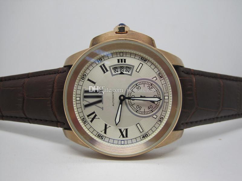 Sıcak Satış Erkek izle otomatik saatler Gül altın watchcase deri kayış beyaz yüz kol saati 101