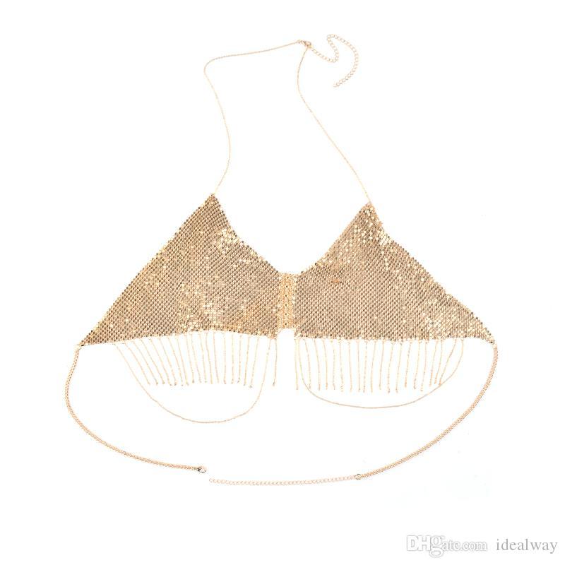 idealway المرأة ذهبية فضية الترتر مثير بيكيني البرازيلي قلادة بيان الجسم الجوف سلسلة شاطئ مجوهرات اكسسوارات