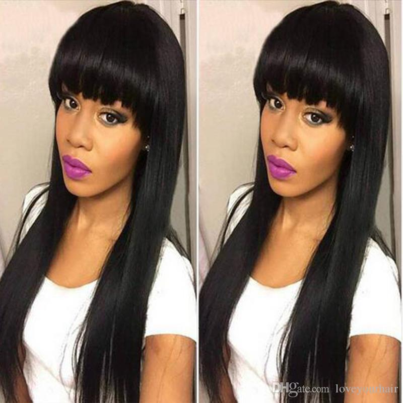 Peluca recta larga peluca llena de simulación brasileña pelucas llenas pelucas largas sedosas con flequillo completo para mujeres negras