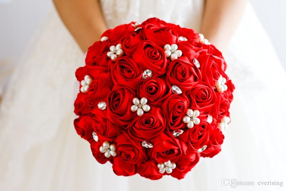 Bouquet Sposa Rose Rosse.Acquista Bouquet Di Spilla Da Sposa In Fiore Di Rose Rosse A 31 9