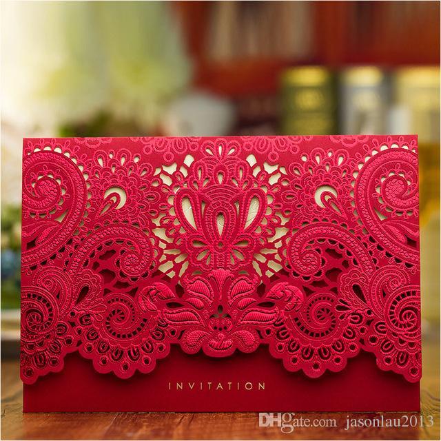 Luxury Wedding Invitations 2017 Red Gold Laser Cut Bridal Shower Invitation  Cards With Envelope Wedding Supplies 2018 From Jasonlau2013, $1.01 | DHgate  ...
