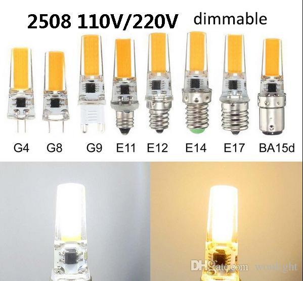 Светодиодные лампы кукурузы дискамируемые силиконовые лампы тела G4 G8 G9 E11 E12 E14 E17 BA15D 110V 220V COB 2508 белая лампочка