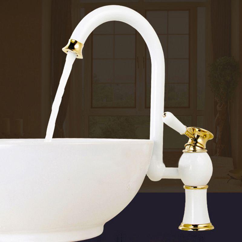 Tek delik Tek Kolu ile banyo Havzası Musluk, Izgara beyaz / gül altın boya lavabo musluk / Banyo Çok Fonksiyonlu anahtarı