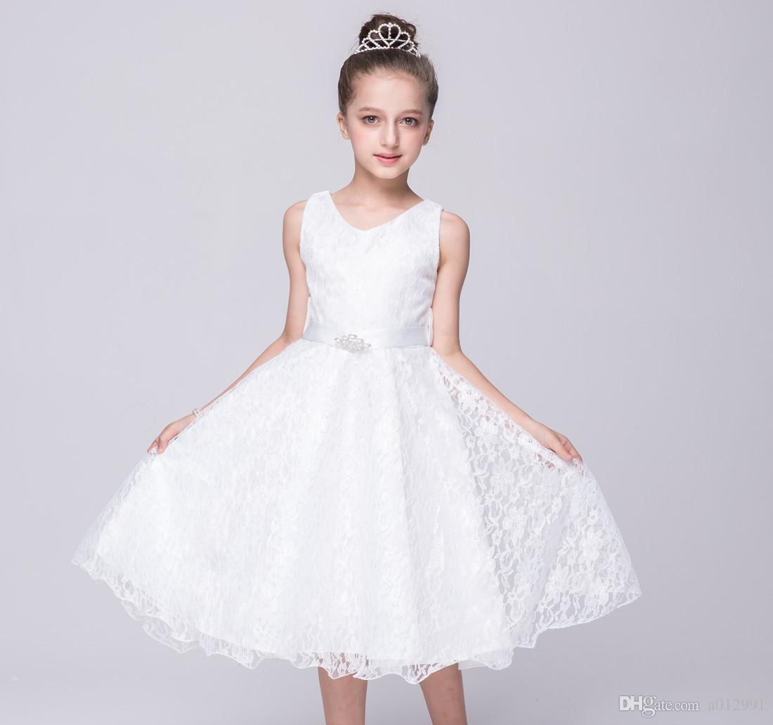 2019 2017 New Girls Party Wear Dress Kids High Grade Lace Princess Dress  Children Wedding Party Birthday Princess Bow Dresses From A012991, $9.91