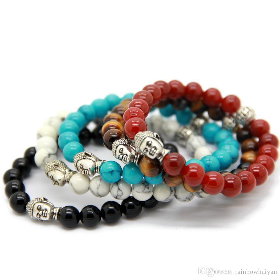 Vendita calda 10 pz / lotto squisiti bracciali di Buddha con agata rossa / nera naturale, occhio di tigre giallo, pietra bianca e turchese
