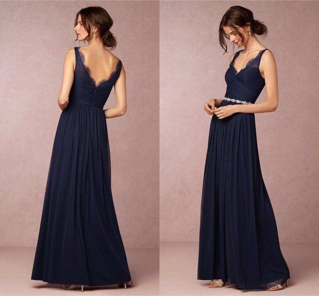 365d9778432 Dark Navy Straps V Neck A Line Chiffon Long Bridesmaid Dresses 2018 New  Elegant Lace Top
