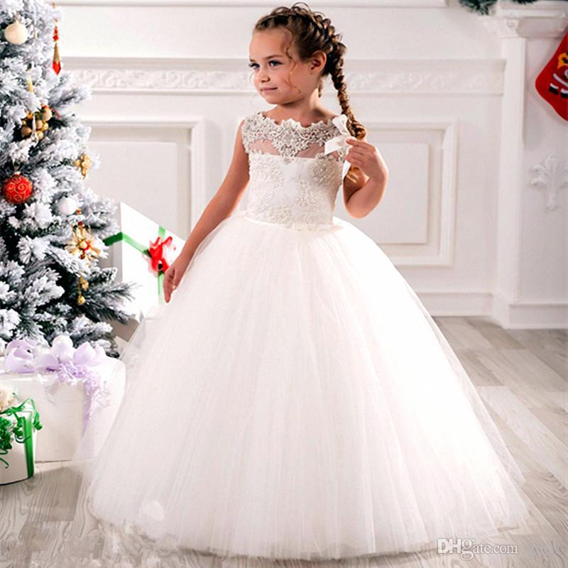 Ucuz Çiçek Kız Elbise Tül Dantel Üst Spagetti Örgün Çocuklar Parti Ücretsiz Kargo Toddler Törenlerinde Giymek