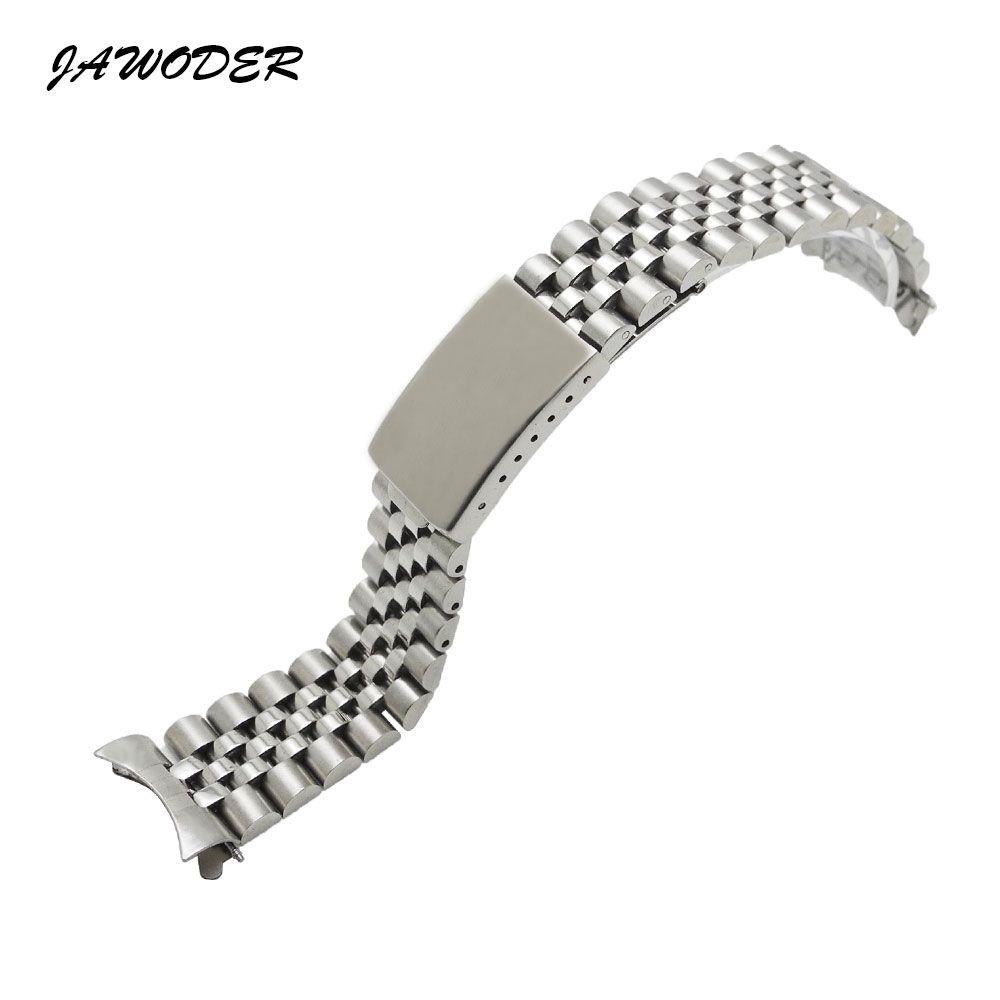 Jawwer pulseira homens mulheres13 17 20mm puro e sólido de aço inoxidável polimento + escovado pulseira de relógio banda de implantação fivela pulseiras para rolex