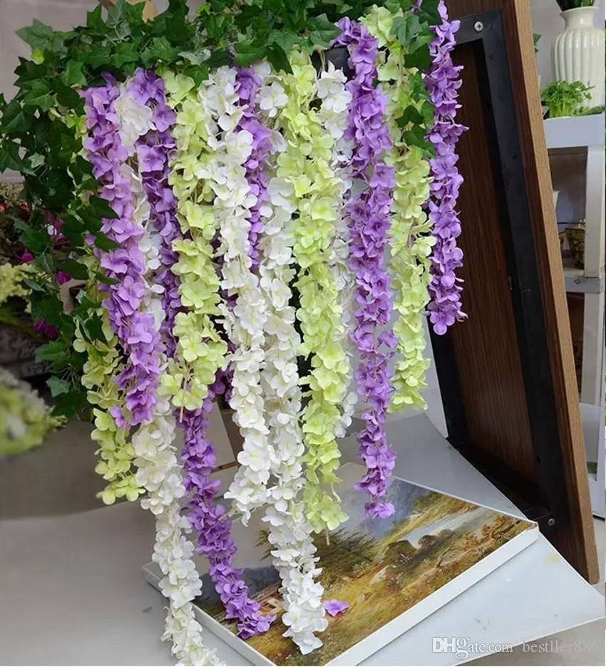 "80"" 2 Meter"" Super Long Artificial Silk Flower Hydrangea Wisteria Garland For Garden Home Wedding Decoration Supplies 8 Colors Available"