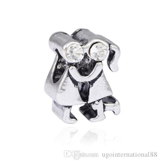 Wholesale 30pcs 925 Silver Plated European Charm Beads Boy and Girl Lover Charms Bead Fit Women Pandora Bracelet Bangle Diy Jewelry