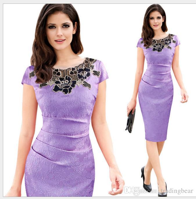 6 Colors Elegant Women Lilac Foral Embroidery Crew Neck Formal Dress Party Evening Bodycon Clothing Size S to xxl