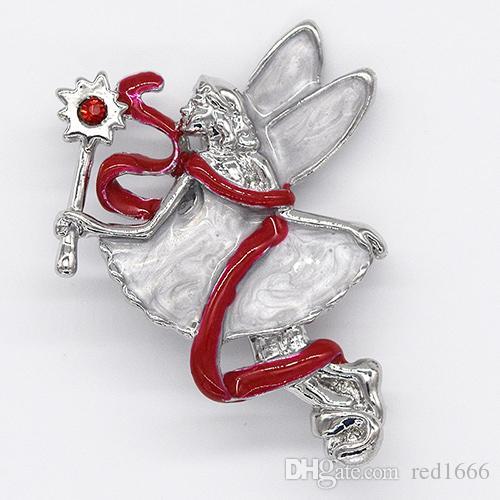 Spilla moda strass smalto spilla pin angelo regalo di Natale C102534