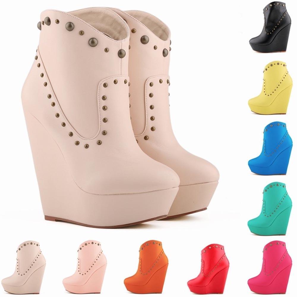 Chaussure Femme Womens Shoes Pu Leahter Platrorm Ankle Boots Rivets High Heels Wedge US 4-11 D0047