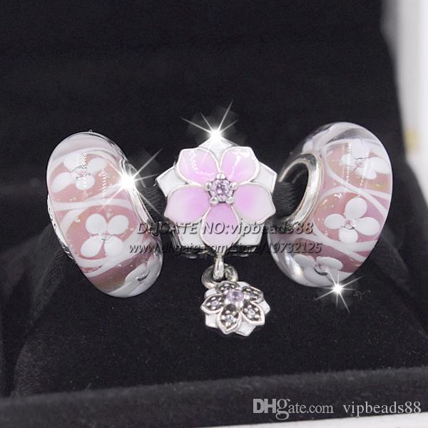 3pcs 2017 primavera nuovo magnolia rosa perline di vetro smalto serie di gioielli da donna set collana di fascino europeo braccialetto (compresa la scatola)
