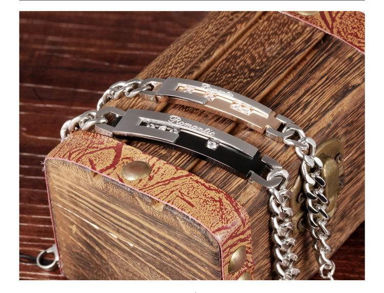 Brand new 316L stainless steel bracelet lover's gifts girl's gif boy's braclets jewllery with crystals zircons hand link chains GS792