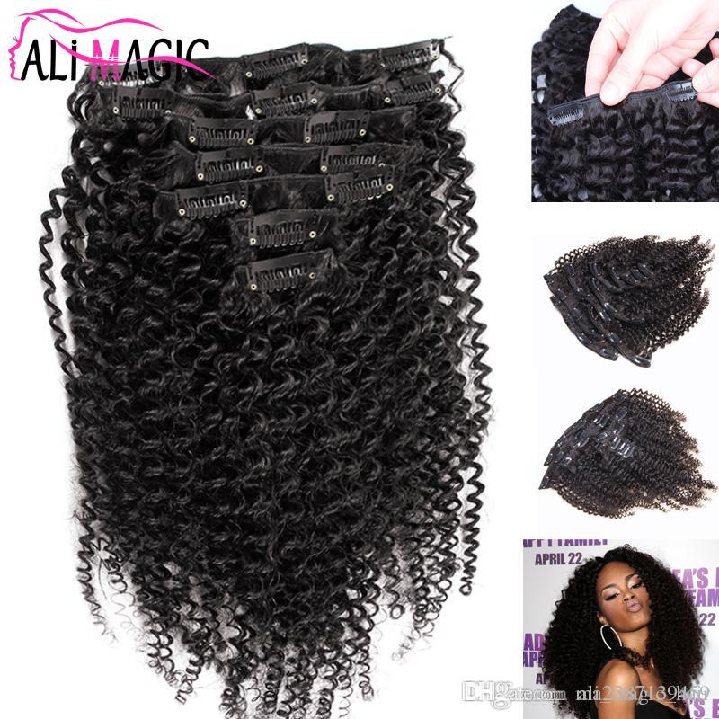 Clip Extensions African American Clip In Human Hair Extensions Kinky Curly Clip In Hair Extensions 120g 8A Natural Hair Factory Outlet