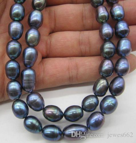 """FREE SHIPPING>>11-12MM TAHITIAN BLACK PEARL NECKLACE 18 """""""