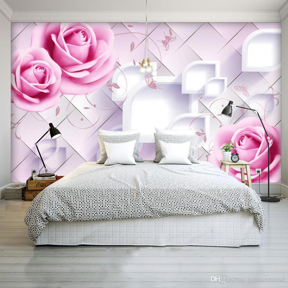 Custom Photo Wall Mural Modern Design 3d Room Wallpaper For Walls 3d Romantic Painting Pink Rose Floral Living Bedroom Fresco Wallpaper Images