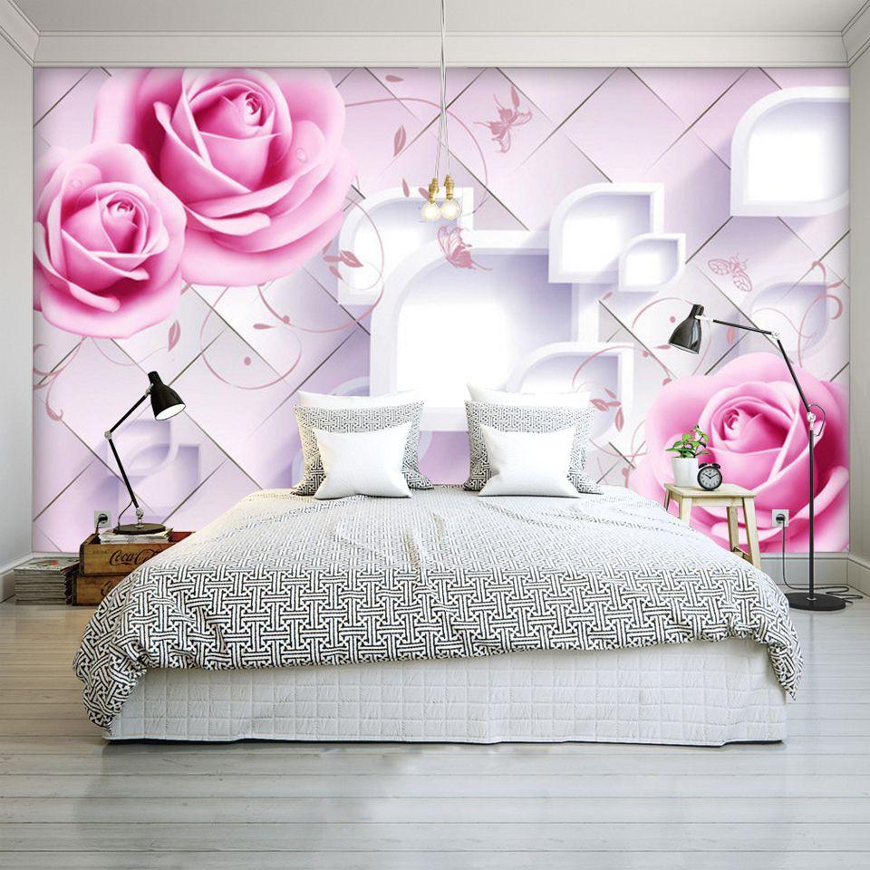 Compre Custom Photo Wall Mural Diseño Moderno 3d Room Wallpaper Para Walls 3d Romantic Painting Pink Rose Floral Living Bedroom Fresco A 4372 Del
