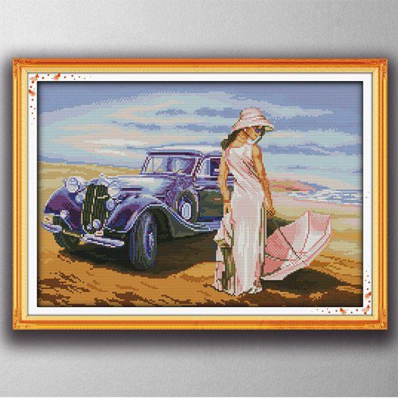 Modello di auto ragazza sexy, stile paintng Punto croce Set di cucito Kit di ricamo dipinti contati stampati su tela DMC 14CT / 11CT