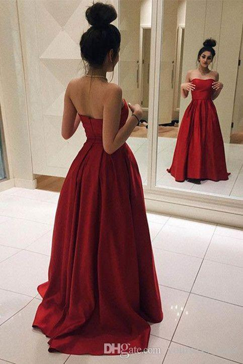 Dark Red Satin Strapless Prom Dresses 201