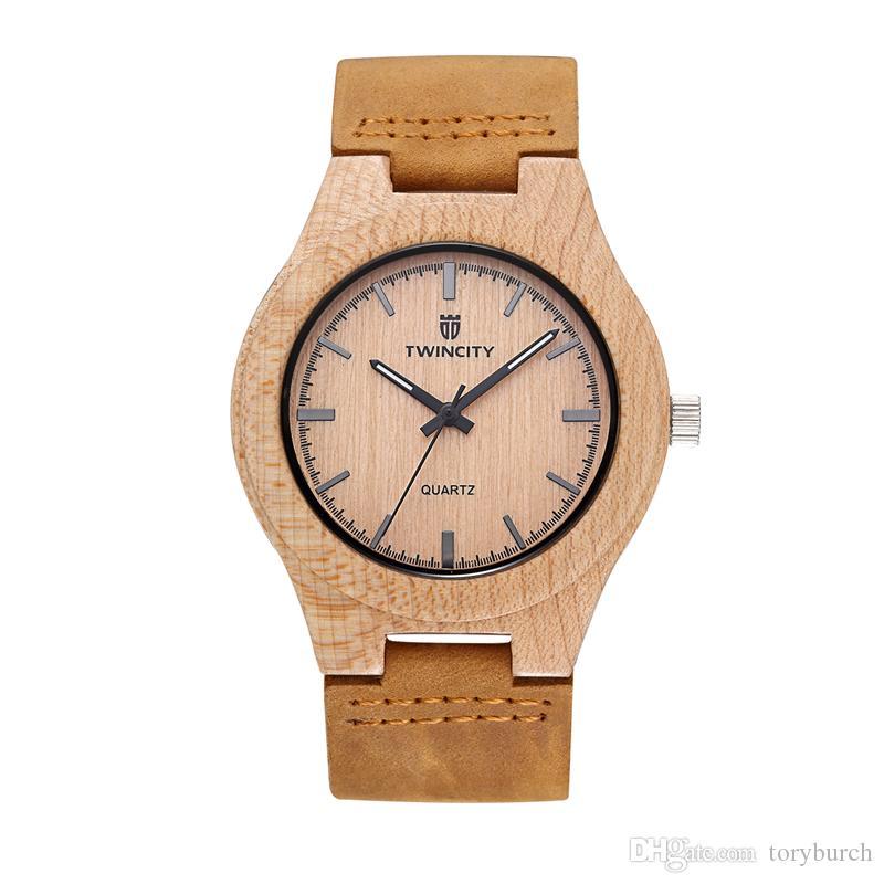 TW1652 우드 시계 세련된 소설 대나무 나무 시계 남자 Relogio Masculino 남자 시계 쿼츠 가죽 밴드 손목 시계 캐주얼 시계