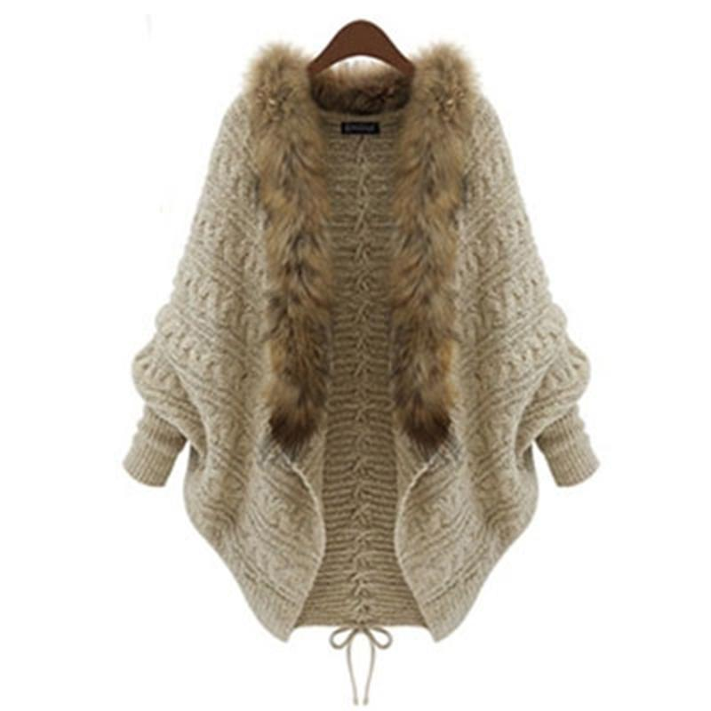 Wholesale- Women Winter Cardigan Thick Poncho Capes Pull Femme Autumn Brand Fashion Knitted Fur Collar Wool Sweater Jacket Bat Sleeve Coat