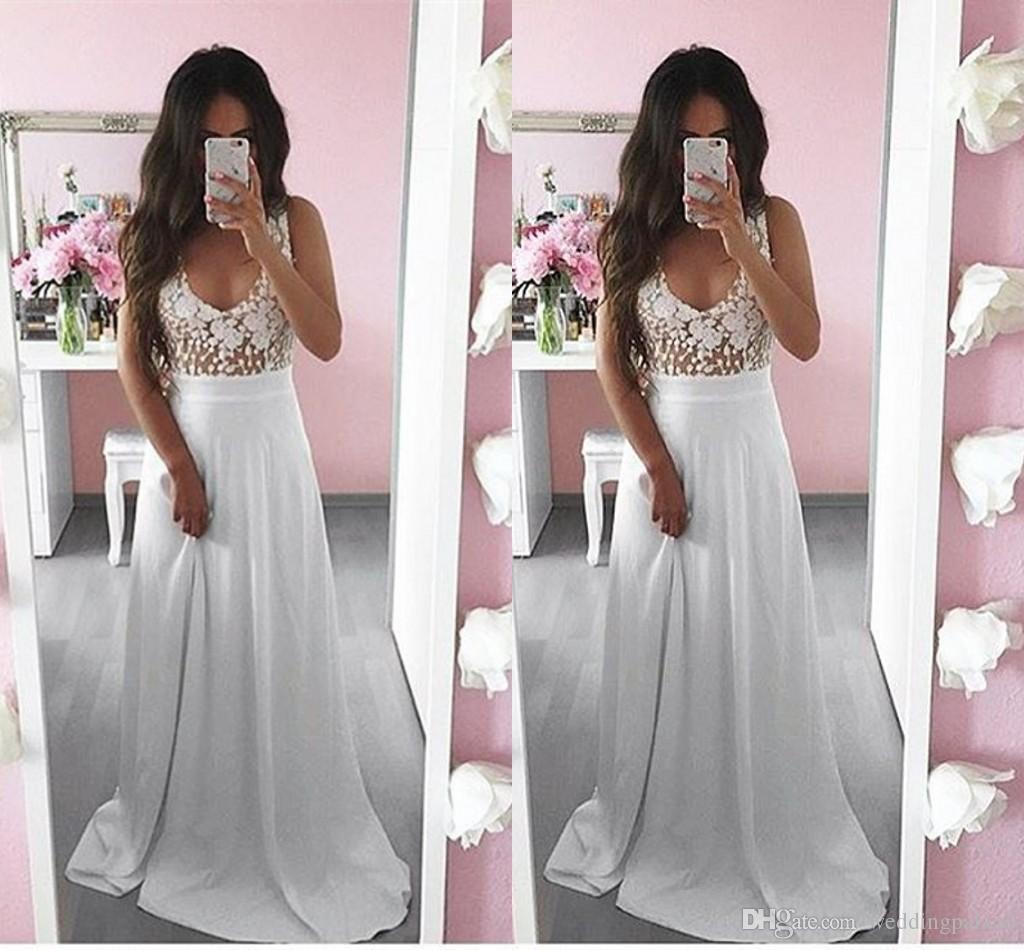 Beyaz V Yaka Şifon Uzun Abiye Gelinlik Modelleri Aplikler Kat-uzunluk A-line Örgün Abiye giyim Vestido De Noche
