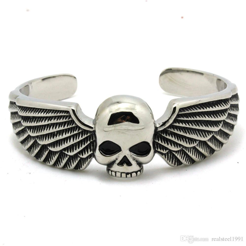 1 pc Soutien Dropship Skull Ailes Or Argent Motos Bracelet En Acier Inoxydable 316L Hommes Garçons Biker Style Crâne Bracelet