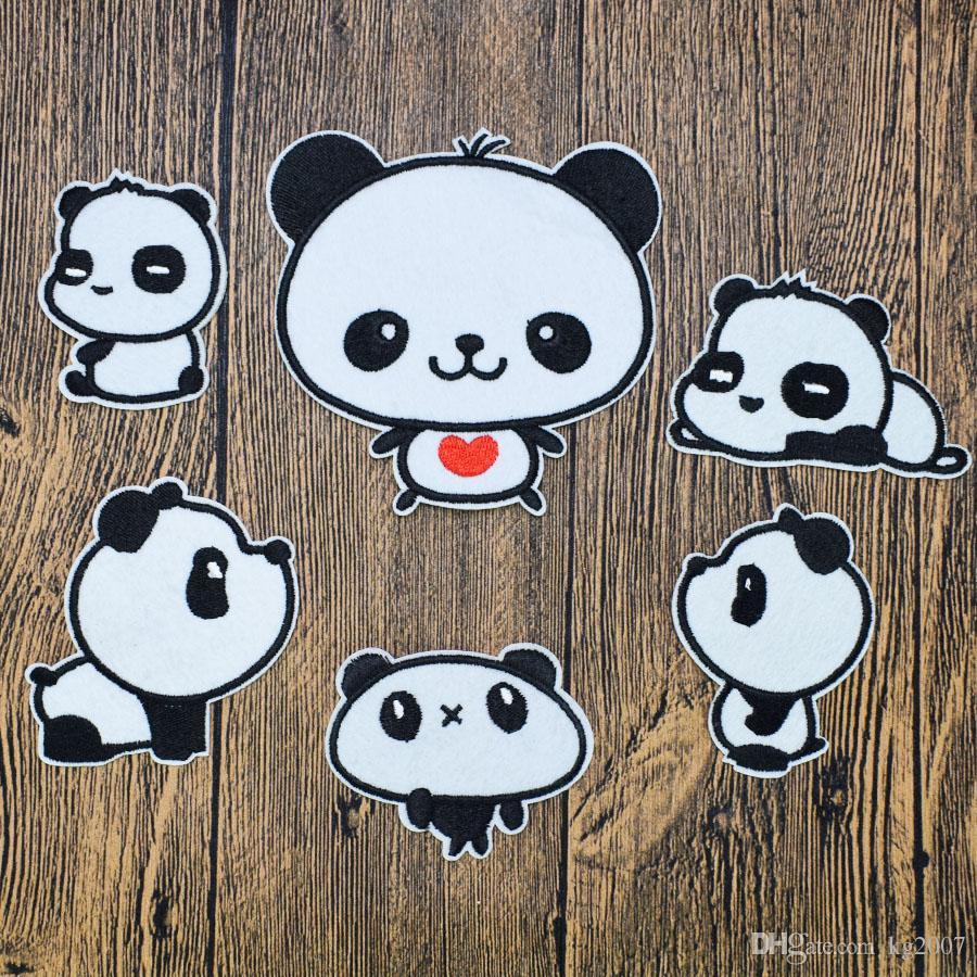 6 adet Pandalar giysi için yamaları dikiş aksesuarları giyim demir işlemeli yama aplike demir dikmek için hayvan rozeti yamaları