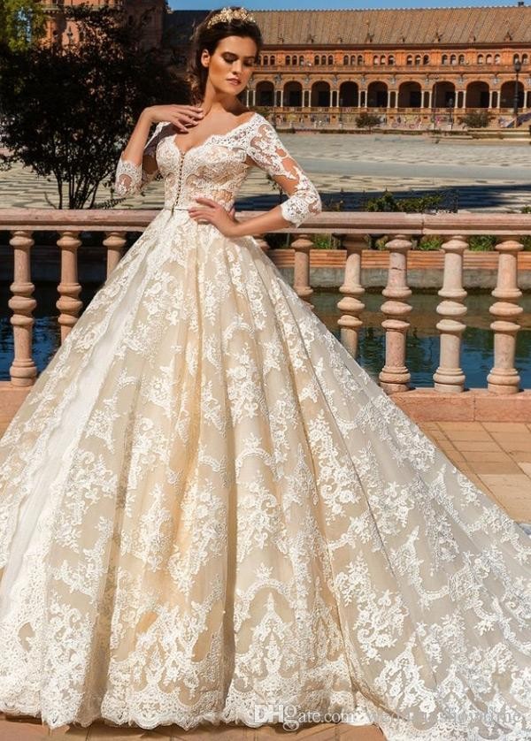 Champagne Ball Gown Wedding Dresses with Lace