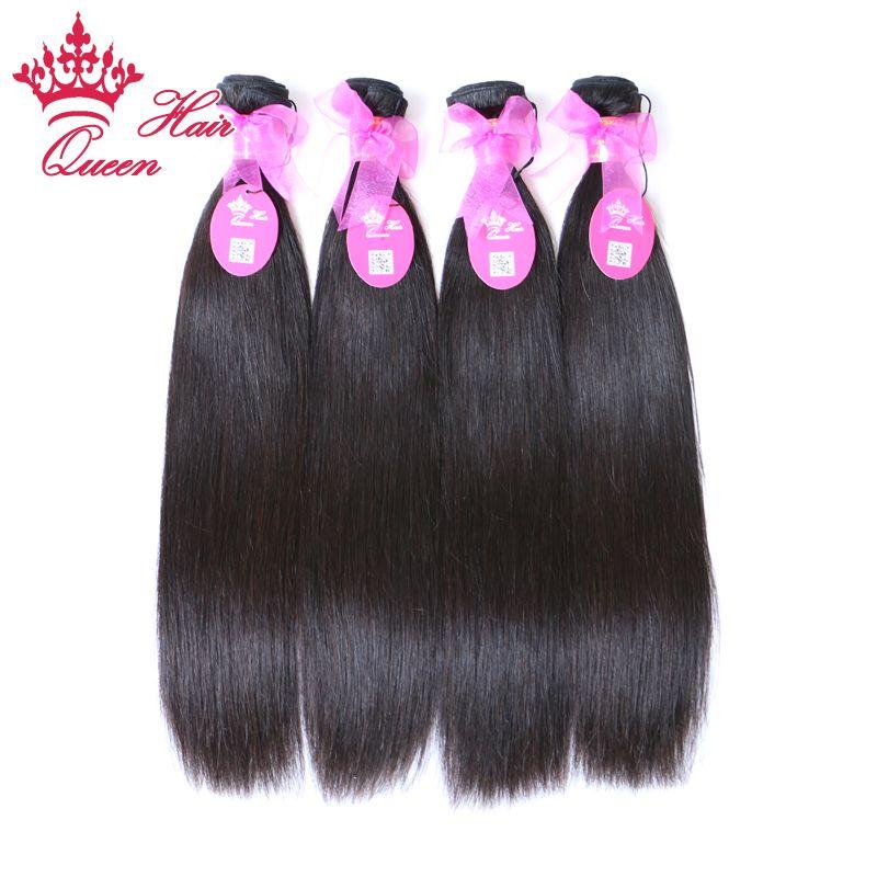"""Королева волос бразильские Виргинские наращивание волос 4 шт. много натуральных прямых волос смешанная длина доступна 12""""-28"""" DHL бесплатная доставка"""