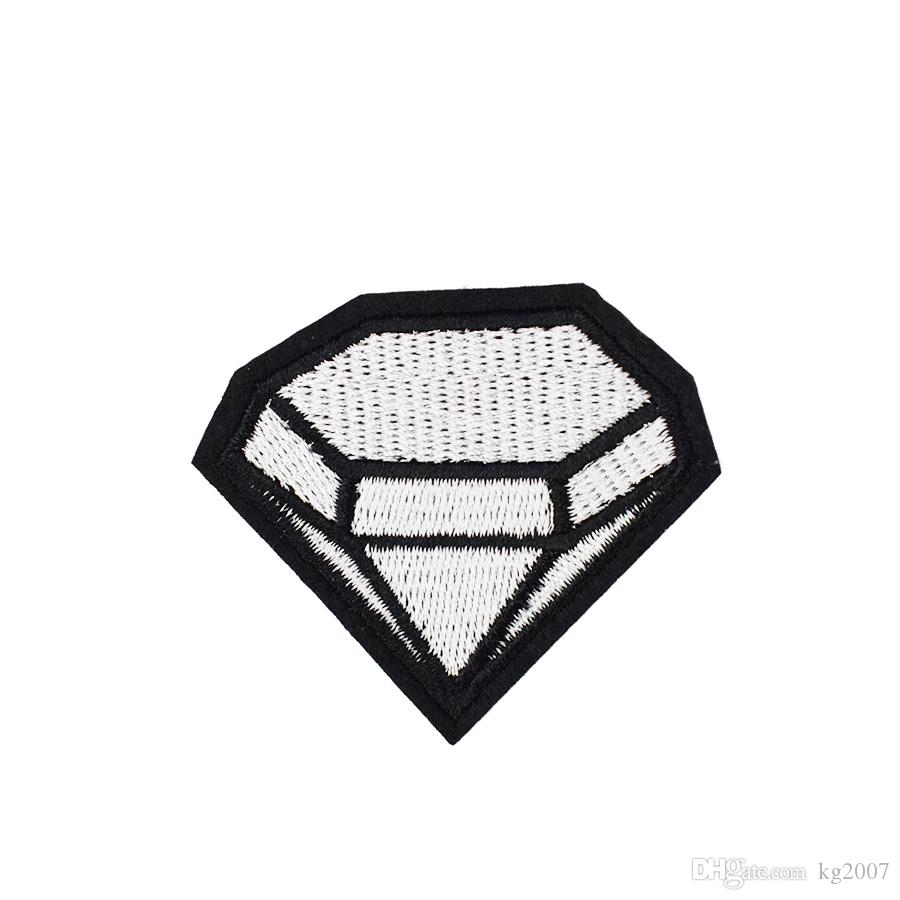 10 PCS Large Diamond Badge Patches for Clothing Bags Iron on Transfer Applique Patch for Jacket Jeans DIY Sew on Embroidery Badge