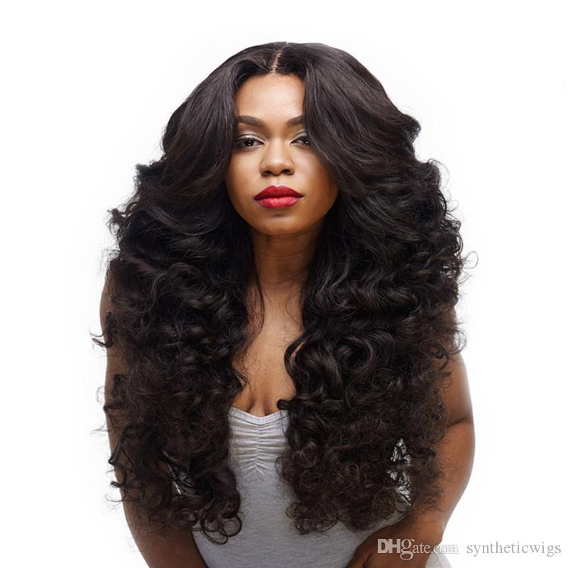 Parrucche delle donne di legno naturale parrucche di capelli economici naturali ricci parrucche sintetiche lunghe parrucca riccia crespo resistente al calore fibra ondulata nera cosplay