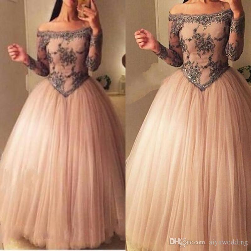 Ball Gown Prom Dresses 2019 Off the Shoulder Sheer Long Sleeves Basque Waist Floor Length Tulle Arabia Evening Dresses