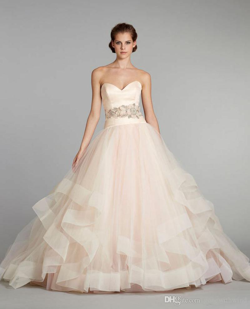 blush pink puffy princess wedding dresses 2017 tulle ball gown ...
