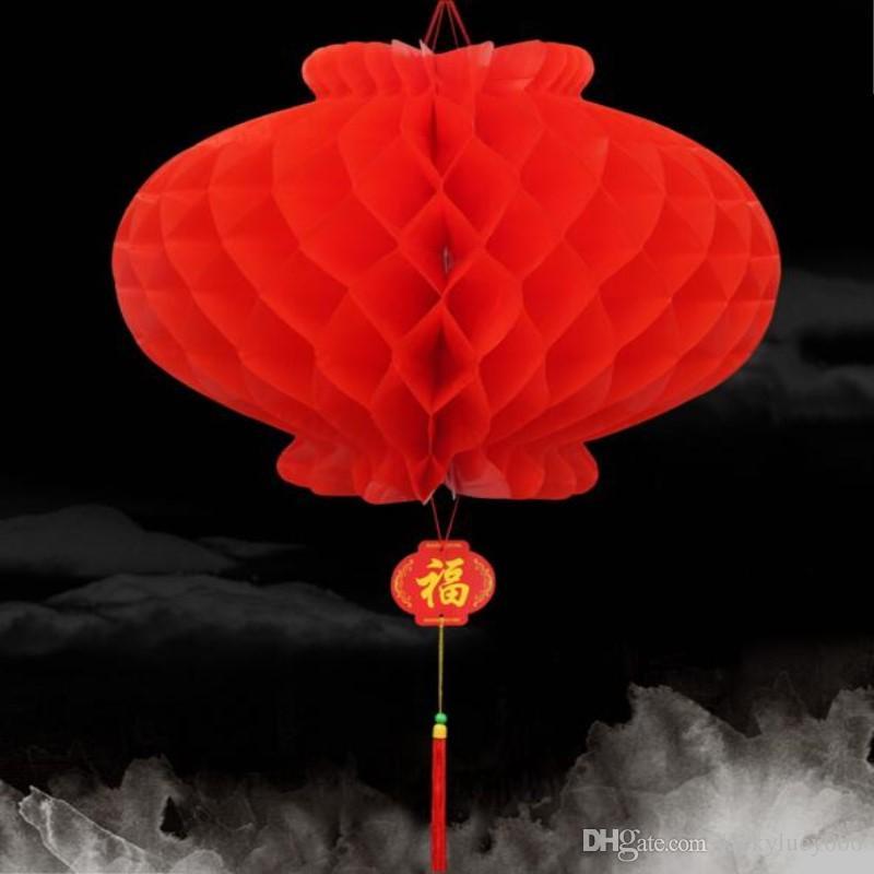 26 cm Dia Lanterne di carta rosse tradizionali cinesi festose per la decorazione di nozze per feste di compleanno