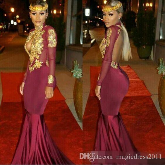 2021 남아프리카 인어 댄스 파티 이브닝 드레스 섹시한 높은 목 골드 아플리케 프릴 계층 파티 리셉션 드레스 기차 스윕