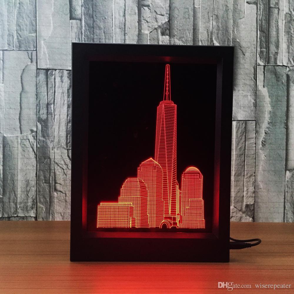 Edificio 7 Al De 5V De Remoto Envío LED Marco Compre 3D Decoración Mayor La DC Rascacielos Fotos Luces Ciudad Venta De De Lámpara Por RGB Fábrica IR uFJ3TcK1l