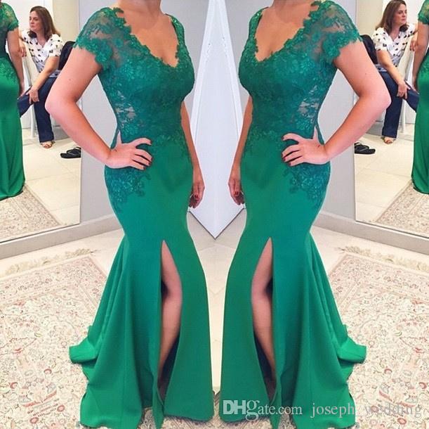 2017 Nuovo Arrvial Hot Fashion Vestido Mae Da Noiva Scollo a V Fessura Del Lato Sirena Applique In Pizzo Abiti Da Sera Verde