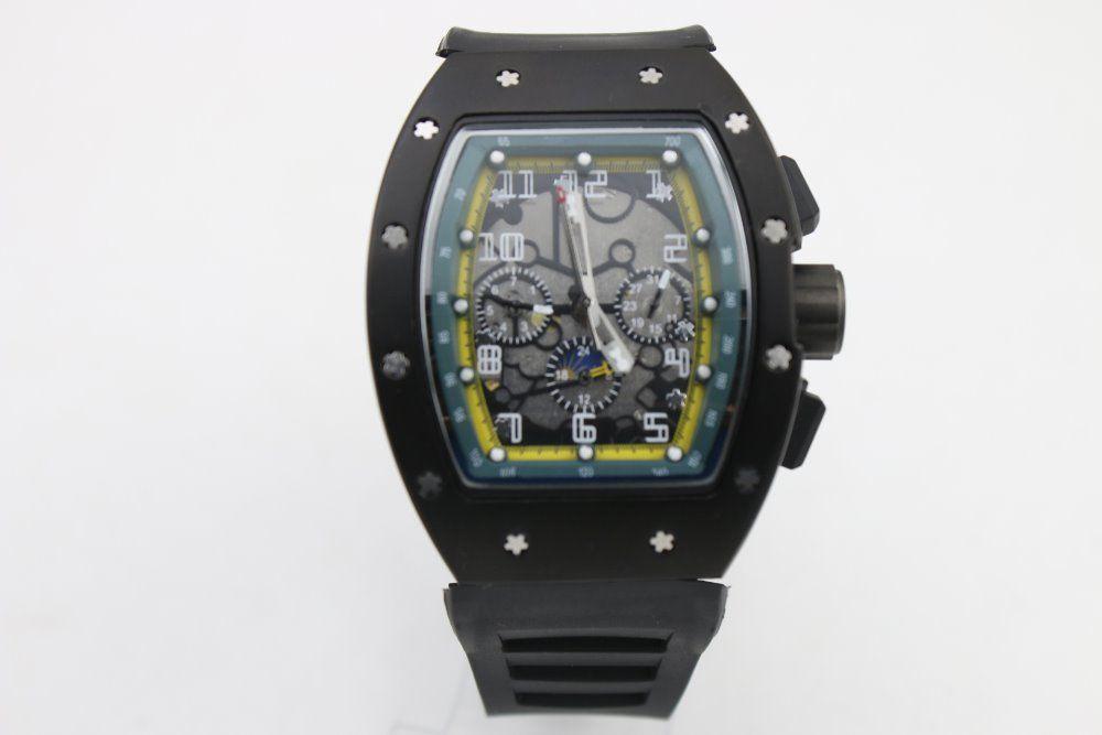 الرجال ذات جودة عالية التلقائي الساعات الميكانيكية حزام من المطاط الأسود الفولاذ المقاوم للصدأ الأسود الحافة الداخلية 43MM الأخضر حالة ووتش