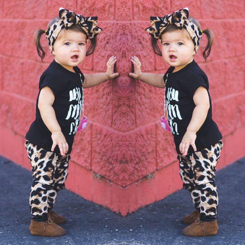 2017 Toddler Kids Baby Boy Girls Fashion Outfit Clothes T-shirt Tops+Leopard Long Pants Trousers 2PCS Set 1-5T