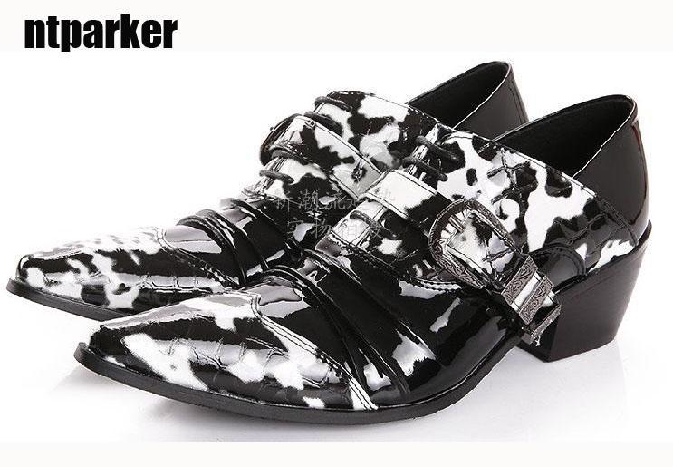 6,5 cm Heels Personality nero bianco fiore in pelle scarpe da uomo scarpe da uomo scarpe da uomo scarpe da uomo d'affari, Big Sizes 38-46