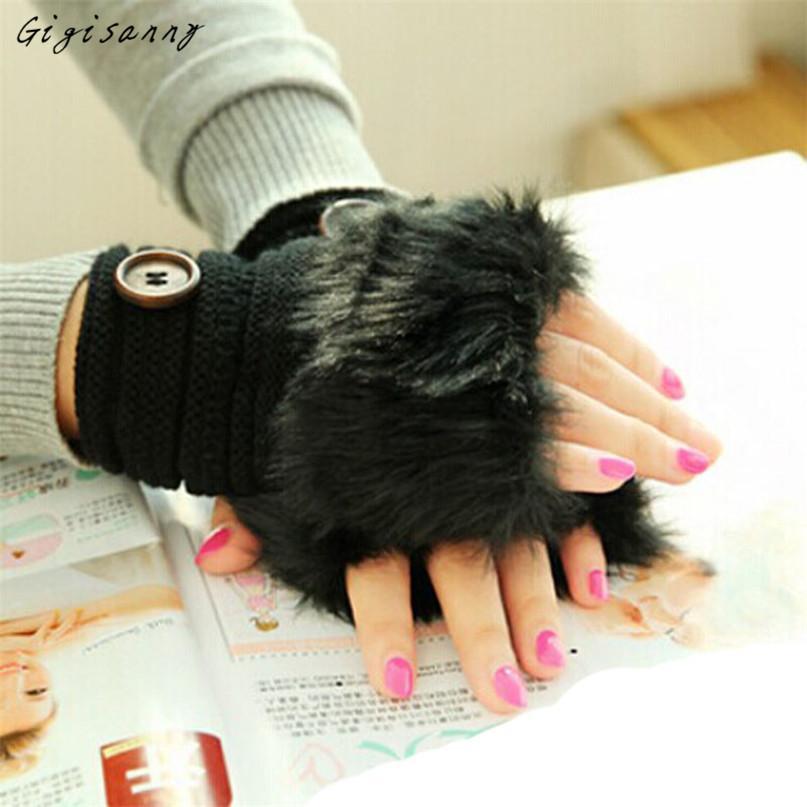 Moda al por mayor Gigisanny 2017 de las mujeres caliente Guantes de invierno de piel falsa de la muñeca sin dedos guantes de invierno Guantes de envío gratuito 5 Oct