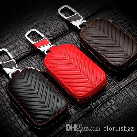 2017 NEW Fashion Genuine Cow Leather Styling Car Auto Home Using Key Chain Keyrings Ring Case Holder Cover Wallet Bag Design Good Car Gifts