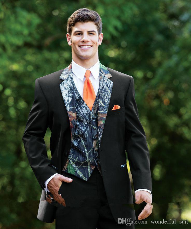 2015 neue Camouflage Smoking Einzigartige One Button Camo Herren Hochzeit Anzüge Kerb Revers Bräutigam Tragen Prom Anzüge Für Männer (Jacke + Pants + Weste + Tie)