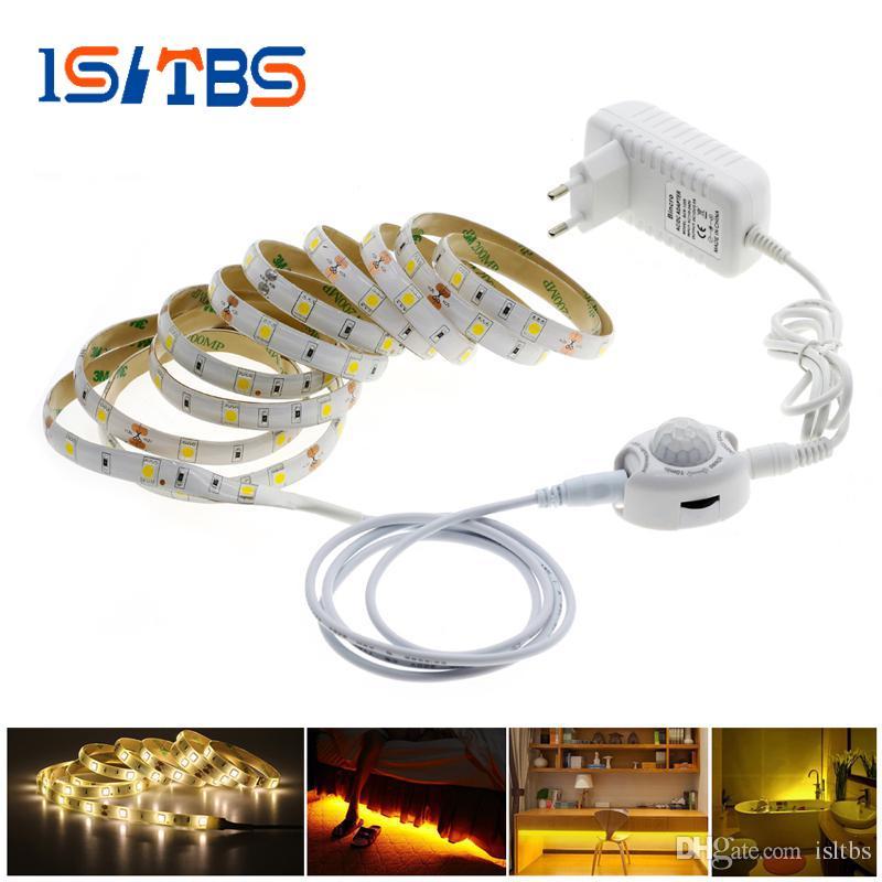 Pir Motion Sensor Led Strip 5050 Waterproof 30leds M Warm White Intelligent Sensor Light Control Bedroom Lighting Led Light Strips Led Strip