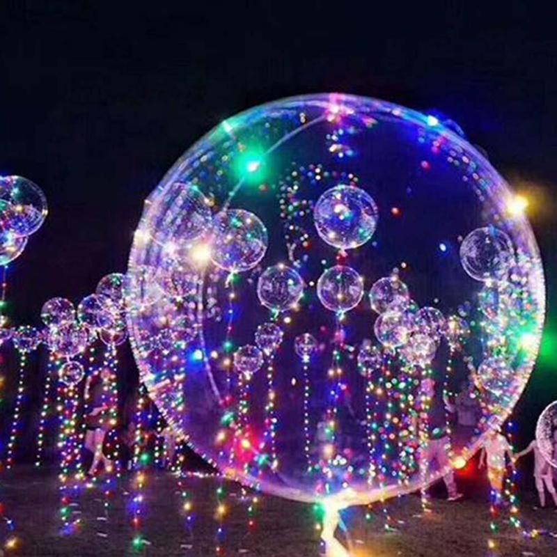 Fête D'anniversaire 3 En 1 Lumineux Led Ballon Coloré Transparent Ronde Bulle Décoration De Mariage Partie Ballons Éclairage Dans L'obscurité 3 m